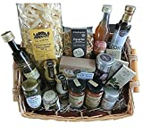 Luxus Delikatessen-Geschenkkorb mit Nudeln, Saucen, Öl, Essigcreme, Senf, Sirup, Schokolade