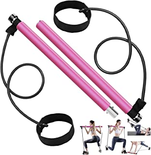 Long Resistance Bands Pilates Bar Kit, Home Gym Equipment for Women Body Workout, Portable Exercise Stick Handle with Foot...