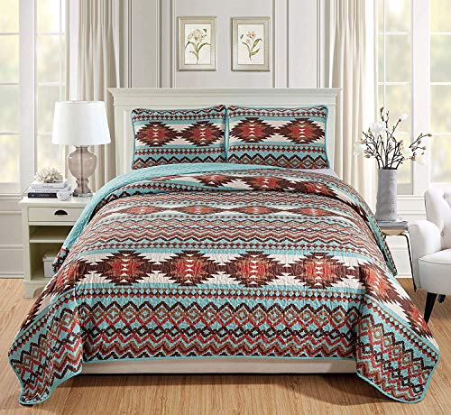 Southwest Quilted Bedspread Set with Native American Patterns and Rustic Colors of Brown Burnt Orange Rust and Turquoise Colors (Utah Turquoise, Full / Queen)