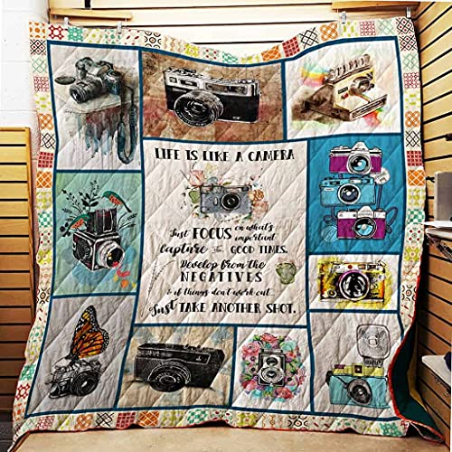 Photography Lover Life is Like Camera All Season Quilts Blanket Super King Queen Twin Size - Best Decorative for Pet Lovers Bedroom Sofa Home Decor Camping