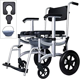 Yxian 4 in 1 Chair Shower Commode Mobile Chair Commode PU Soft backrest/Shower Wheelchair Mobile Padded Toilet Seat Shower, Brakes, Removable Pedal, Adjustable armrest