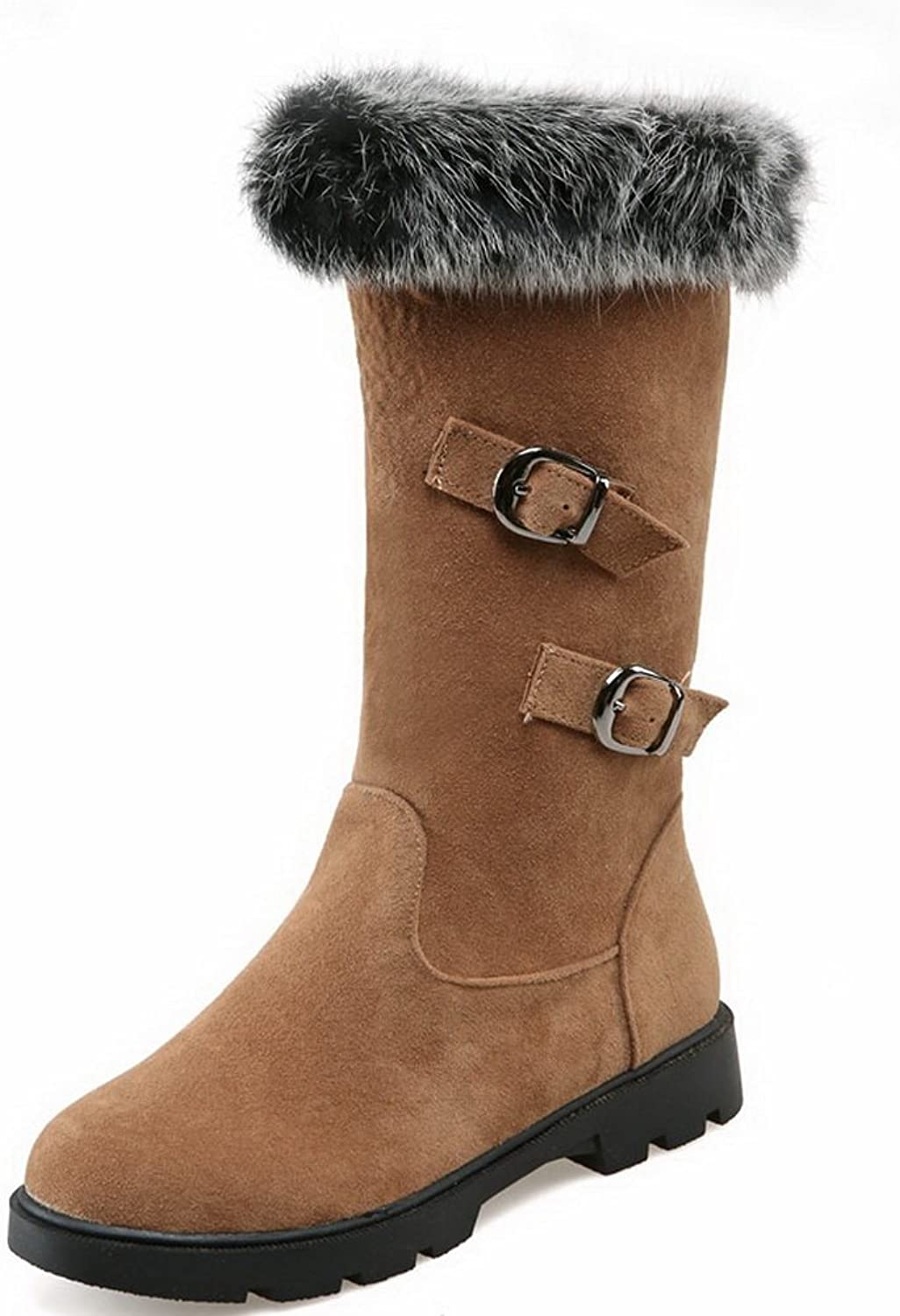 A&N Girls Pull-On Low Heels Cold-Weather Xi Shi Velvet Boots