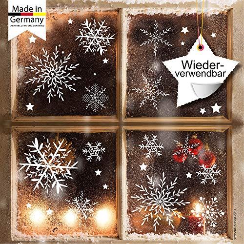 Fensterbild Wunderschöne Schneeflocken im Set – WIEDERVERWENDBAR – 24 filigrane Aufkleber Schneeflocken und Sterne von Wandtattoo-Loft®