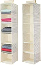 mDesign Long Soft Fabric Over Closet Rod Hanging Storage Organizer with 6 Shelves for Clothes, Leggings, Lingerie, T Shirts - Striped Print with Solid Trim - 2 Pack - Natural/Cobalt Blue
