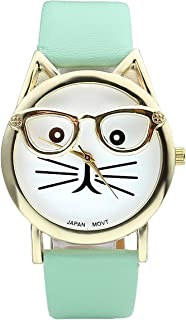 Top Plaza Fashion Women's Platinum Plated Mini Cat Glasses Analog Quartz Watch, PU Leather Strap Gold Tone - Mint Green
