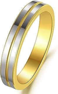 خواتم تنجستن 4 مم أخدود للرجال النساء الفضة الذهب اثنين من لهجة خواتم الزفاف الراحة صالح الحجم 6-11