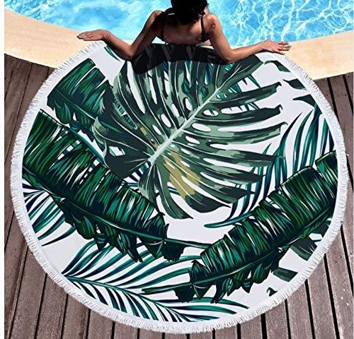 Vanzelu handdoek stof groene plant grote microvezel ronde strand handdoeken met kwast strand wrap cover up bladeren camping picknick yogamat handdoek 150x150cm buiten