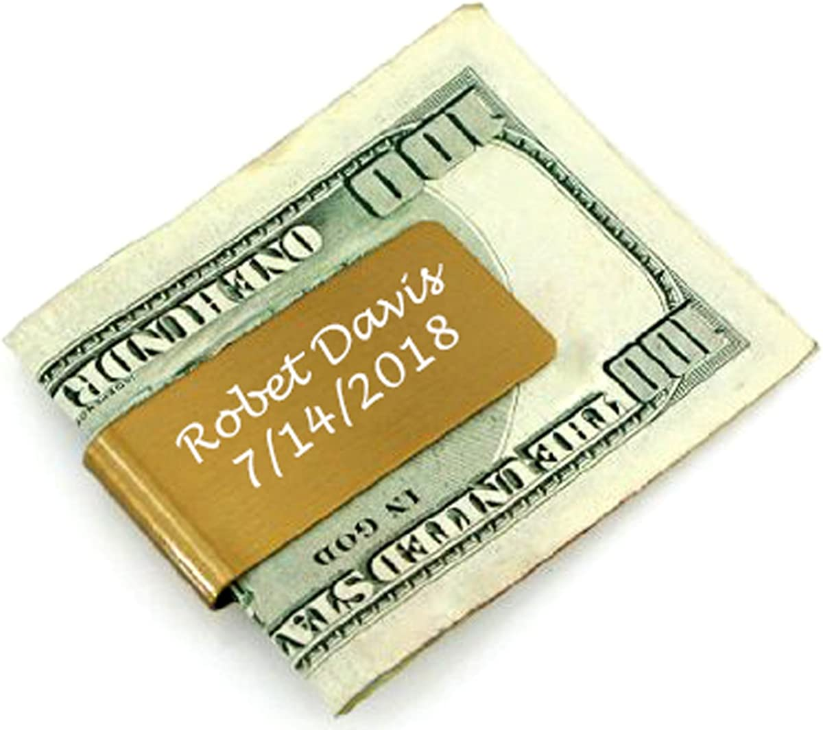 Gifts Infinity Metal Personalized Metal Money Clip Free Engraving … (Gold)