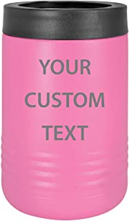 Custom Personalized Stainless Steel Engraved Insulated Beer Beverage Holder Can Cooler (Pink)