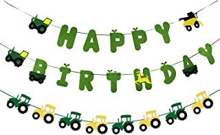 Green Tractor Birthday Banner Set with Tractor Garland Banner for Tractor Farm Themed Birthday Party Supplies Decorations
