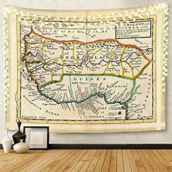 Semtomn Tapestry Artwork Wall Hanging Africa and Guinea Westafrica Hand Col Engraved Map 50x60 Inches Home Decor Tapestries Mattress Tablecloth Curtain Print
