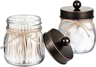 Mason Jar Bathroom Storage Organizer - Oil Rubbed Bronze - Rustic Farmhouse Decor Bathroom Accessories - Qtip Holder Dispenser Glass Apothecary Jars for Qtips,Cotton Swabs,Ball,Flossers (2 Pack)