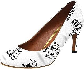 INTERESTPRINT Women's High Heels Dress Pump Shoes Music Notes