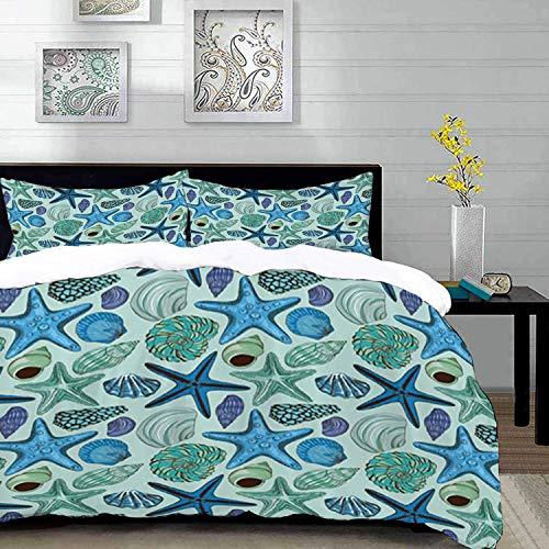 ropa de cama - Juego de funda nórdica, estrella de mar, composición...