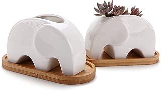ComSaf Planta Maceta de Suculento con Bandeja de bambú Cerámico Elefante 10CM Paquete de 2, Cactus Maceteros de Ventana Cajas Decoración para Mesa de Comedor Regalo para Cumpleaños Boda Navidad