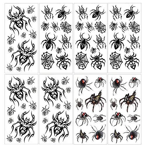 Konsait 76 STÜCKE Spinne Tattoo Gesicht Tattoos Spinnennetz Temporäre Schwarz Tattoos Damen Klebetattoos für Halloween Masquerade Karneval Punk Party Geschenk
