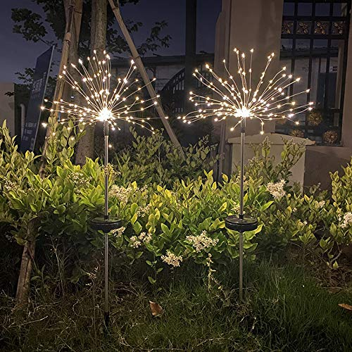 Kuppn 2Pcs Solar Firework Light, 120 LED Copper Wire Starburst Light 2Modes Dimmable Remote Control Waterproof Hanging Fairy String Light Fairy Waterproof Copper Wire Decorative