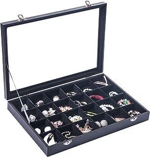 صندوق منظم مجوهرات كبير، صينية منظم خواتم القرط، قلادة اكسسوارات المجوهرات غطاء صندوق مع زجاج (24 شبكة)