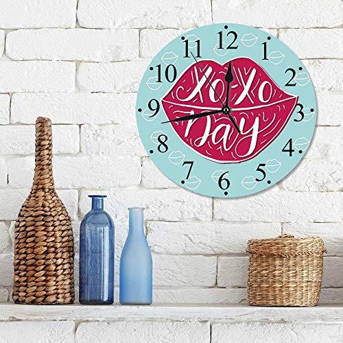 Silencioso Wall Clock Decoración de hogar de Reloj de Redondo,Xo, mujer sexy labios de color rosa completo con abrazos y besos frase del día moda estampa,para Hogar, Sala de Estar, el Aula