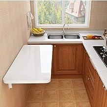 SYLTL Stolik ścienny, ścianka kuchenna Drop Leaf składany stół do jadalni, stolik komputerowy do małych pomieszczeń, biały...