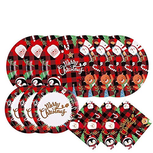 Christmas Plate Napkin Disposable Gingham Checkered Pattern Buffalo Plaid with Santa Claus Serve 20
