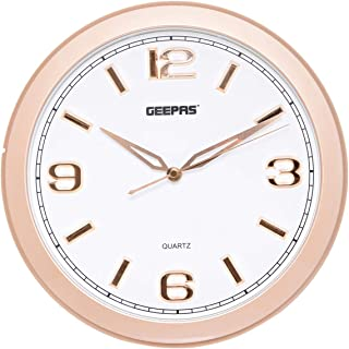 Geepas Gwc4806 3D Rose Gold Dial Wall Clock, White And Gold, AA