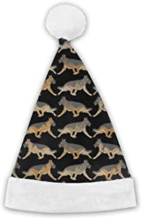 Christmas Hat - Trotting German Shepherd Dog Santa Hat Confortable Velvet Christmas Hat - Perfect for Any Holiday Event