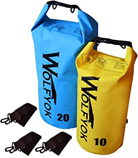 Wolfyok Waterproof Dry Bag Set 20L, 10L with Shoulder Straps Heavy-Duty PVC Floating Roll Top Dry Sack for Kayaking, Boating, Swimming, Rafting, Fishing, Camping, Hiking