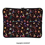 YOLIYANA Laptop Bag Cosmos Design with and Colorful Polka Dots Alien Spacecrafts Cartoon Laptop Sleeve Bag Water-Resistant Protective Case Bag Compatible with Any Notebook 11.6 inch/12 inch