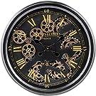 Ev Saati Güzel 52 cm Duvar Saati Hareketli Vites Saati Grafit Siyah ve Altın Roma Rakamları Mükemmel