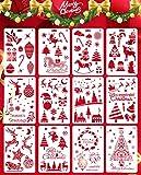 Yuson Girl Juego de 16 plantillas de plástico reutilizables para decoración navideña, para manualidades, Navidad, Papá Noel, árbol de Navidad, copos de nieve, reno