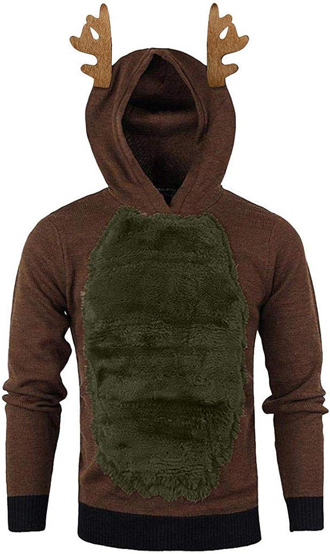 Men Christmas Hoodies Pullover Tops Fuzzy Fleece Casual Long Sleeve Lightweight Hooded Sweatshirts Jackets