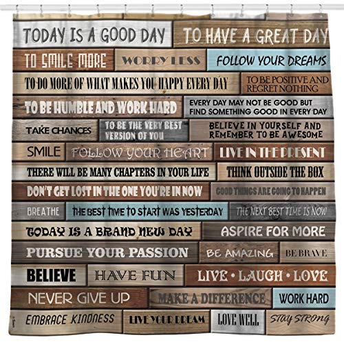 Sunlit Motivational Inspirational Happiness Quotes for Courage Be Awesome Poster Print Rustic Wood Cabin Shower Curtain Teak Closet Curtain Home Bathroom Decor Fabric Quote Tapestry