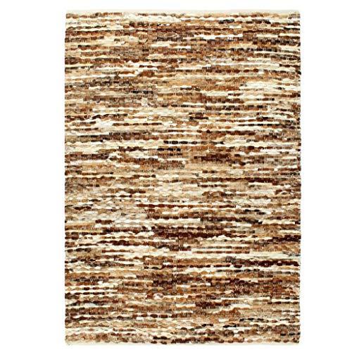 vidaXL Teppich Echtes Kuhfell Echtfell Handgefertigt Lederteppich Fellteppich Wohnzimmerteppich Schlafzimmer Büro 80x150cm Braun Weiß