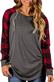 Women's Long Sleeve Plaid Casual Tops Crew Neck Blouse Tunic T-Shirts