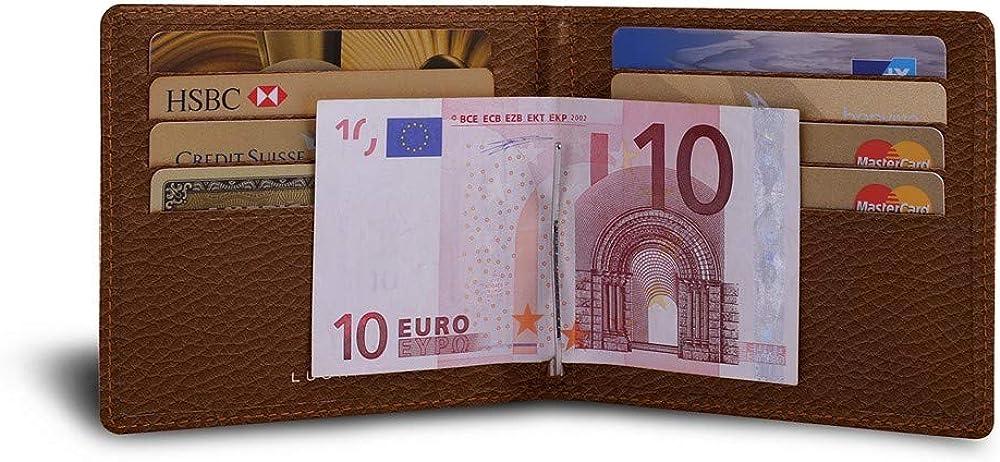 Lucrin - portafoglio con fermasoldi porta carte di credito da uomo in pelle PM2001_VCGR_CGC