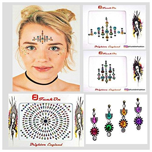 4 Pack Rainbow Face Gems Face Jewels with Temporary Henna Flash Tattoos/Mermaid Rhinestone Rave Glitter/Bindis Eyes Crystals/Face Body Stick On Diamantes/festival Makeup Kit lota