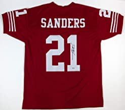 Deion Sanders Red San Francisco 49ers Jersey - Hand Signed By Deion Sanders and Certified Authentic by Beckett - Includes Certificate of Authenticity