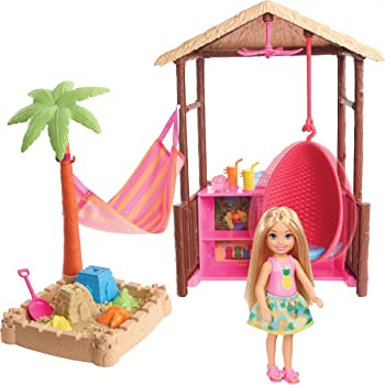 Barbie Chelsea Doll and Tiki Hut Playset with 6-inch Blonde Doll, Hut with Swing, Hammock, Moldable Sand, 4 Molds and 4 Storytelling Pieces, Gift for 3 to 7 Year Olds