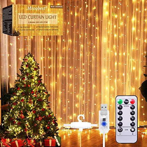 Tenda Luminosa, Catena Luminosa, Mroobest Tenda luminosa Luci Cascata per Finestra, 3M x 3M 300LEDs USB 8 Modalità e Resistenza all acqua - Per Esterni, Interni, Natale, Camera da Letto, Giardino