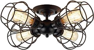 KOONTING 4-Light Industrial Semi-Flush Mount Ceiling Light, Metal Cage Pendant Lighting Lamp Fixture for Hallway Stairway Garage Porch Bedroom Kitchen.