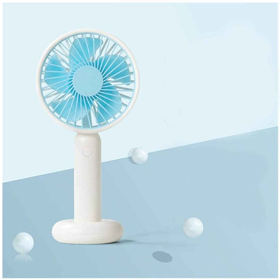 まばたきエジプト人崩壊ミニラウンドファンUSBポータブルハンドヘルドデスクトップ電動ファン大風屋外冷却ファン 携帯扇風機 (Color : Blue)