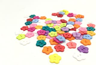 Yansanido 100 Pcs 13mm Assorted Color Tiny Mini Flower Shaped Button Micro Flat Candy Color Button 2 Holes for Sewing Scrapbooking and DIY Craft (2 Holes flower01 13mm)
