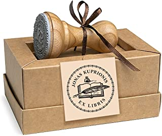 Ex libri, Penna Piuma Inchiostro Libro, Timbri Personalizzati in Legno Rotondo 37mm, Scatole Regalo