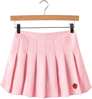 1cc34f6d97 HANBINGPO Autumn New Kpop Strawberry Embroidery Women Skirt Japanese Skirt  High Waist Lattice Female Saia