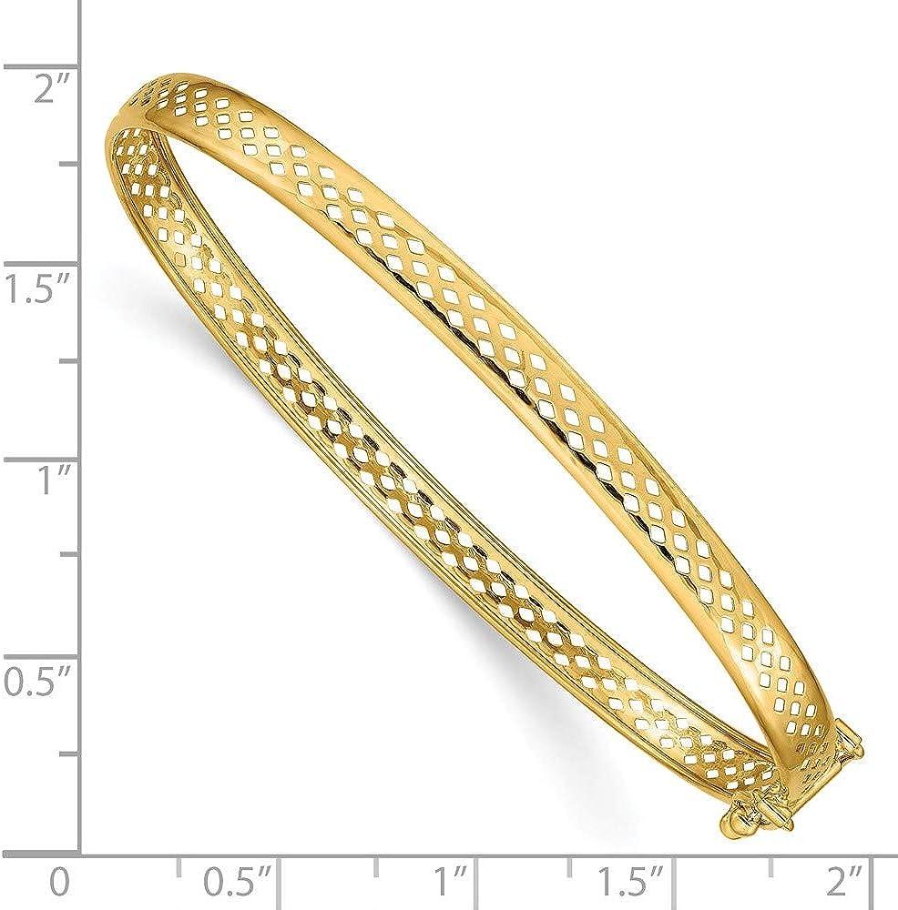 Solid 14k Yellow Gold Polished Safety Clasp 4.75mm Bangle Bracelet 7