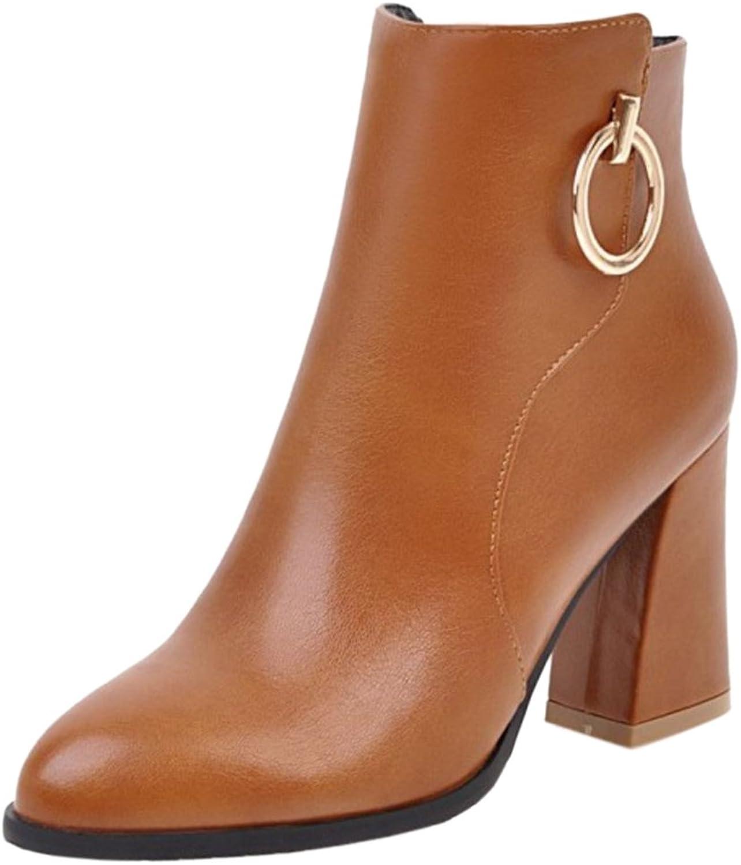 KemeKiss Ladies Stylish Pointy Winter Warm High Heel Booties Ankle High