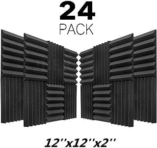 "JBER 24 Pack Charcoal Acoustic Panels 2"" X 12"" X 12"" Studio Foam Wedges Fireproof Soundproof Padding Wall Panels"
