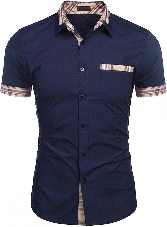 KEEYO Mens Regular-Fit Short-Sleeve Work Cotton Shirts Fashion Summer Casual Button Down Dress Beach Shirts Tops