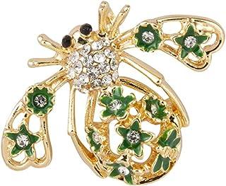 دبوس دبوس برونزي مرصّع بنحلة ذهبية مع نجوم خضراء وأحجار بيضاء للرجال والنساء LP-41